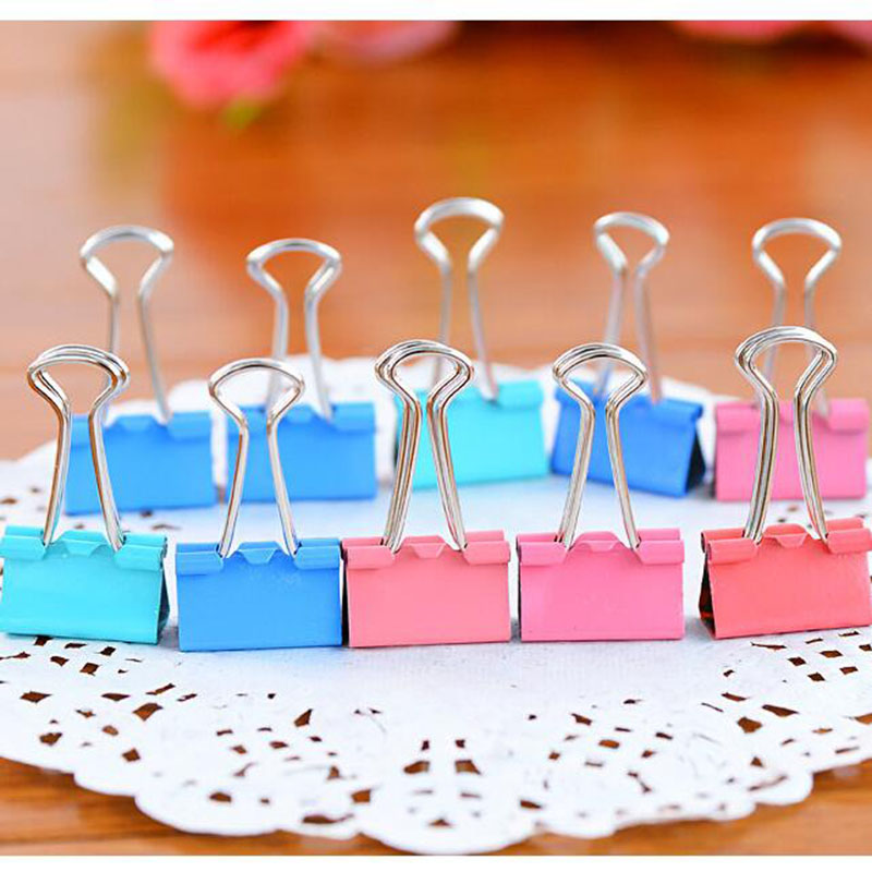 10pcs Hardware Stationery Folder Notes Dovetail Clamp Children Learning Stationery School Office Supplies 19mm (Color Random)