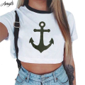Awaytr Women's Summer Anchor Printed Crop Top 2017 Short Sleeve Cotton T Shirts Brand New Casual Tees Cute Cropped Top