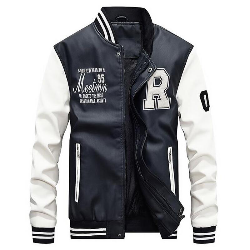HTB1kBtfdf1TBuNjy0Fjq6yjyXXae AFS JEEP Embroidery Baseball Jackets Men Letter Stand Collar Pu Leather Coats Plus Size 4XL Fleece Pilot Leather Jacket hombre