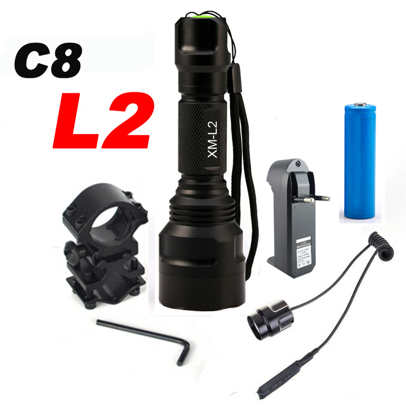 8000Lumen L L2 LED Flashlight Tactical Flashlight Torch Lanterna Aluminum Hunting Light Torch Lamp+18650+Charger+Gun Mount hot sale q5 red led flashlight torch light tactical lanterna 18650 flash light linternas rat tail switch for hungting