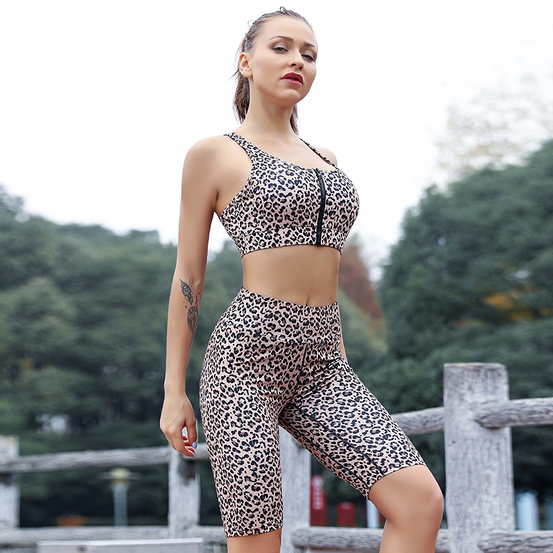 NORMOV Women Fitness Suits Top And Sports Shorts  2 Pieces Set Fashion Ladies Sexy Workout Leopard Printed Tracksuit