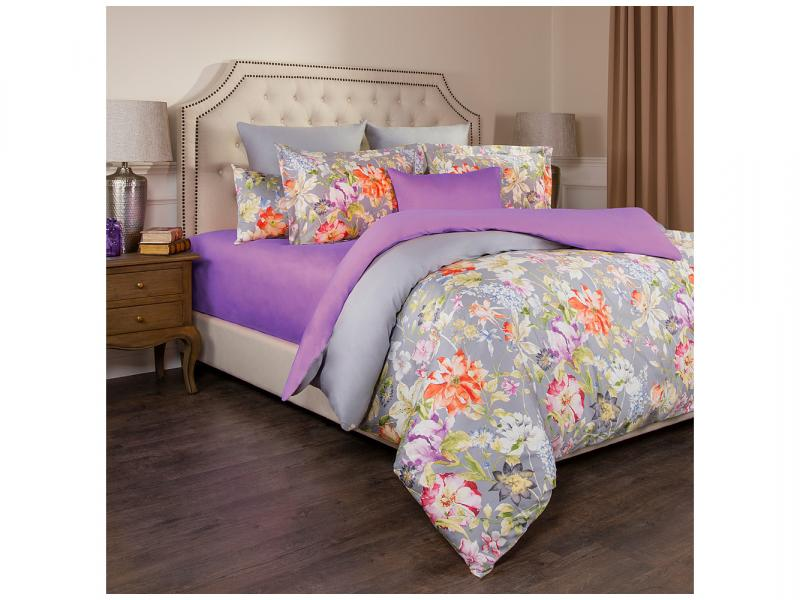 Bedding Set double-euro SANTALINO, PASTORAL, gray/lavender, with pattern