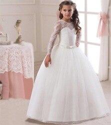 Romantic Lace Puffy Lace Vestido Da Menina Flor 2018 para Casamentos Tulle Ball vestido Party Girl Vestido de Comunhão Pageant Vestido