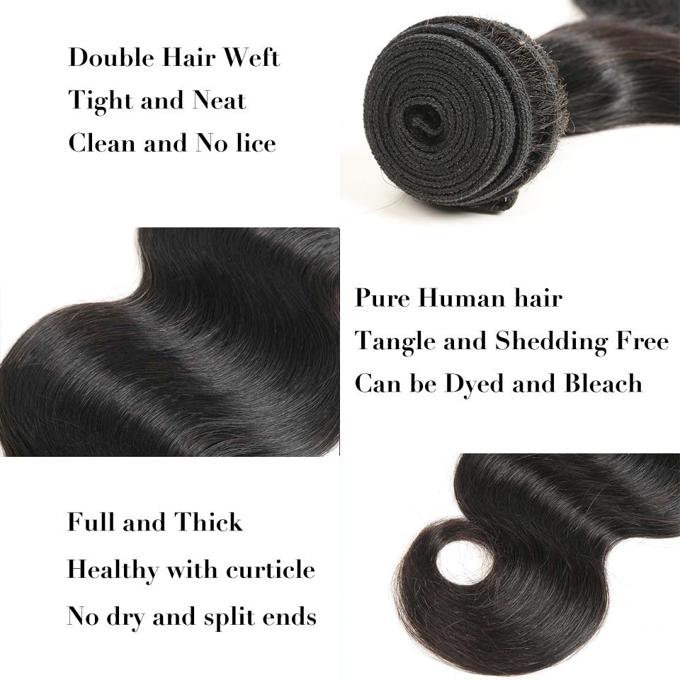 Alimice Hair Brazīlijas ķermeņa viļņi 1 gab 100% cilvēka matu - Cilvēka mati (melnā krāsā) - Foto 4