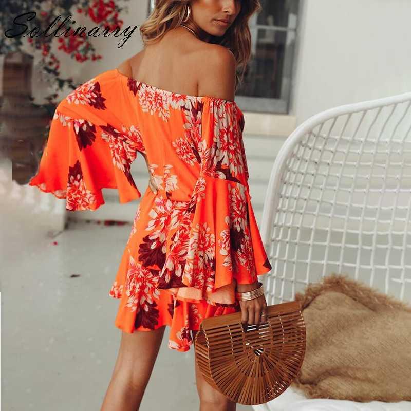 Sollinarry с открытыми плечами блестящие пикантные рукава Повседневный Комбинезон богемный женский пляжный летний короткий комбинезон