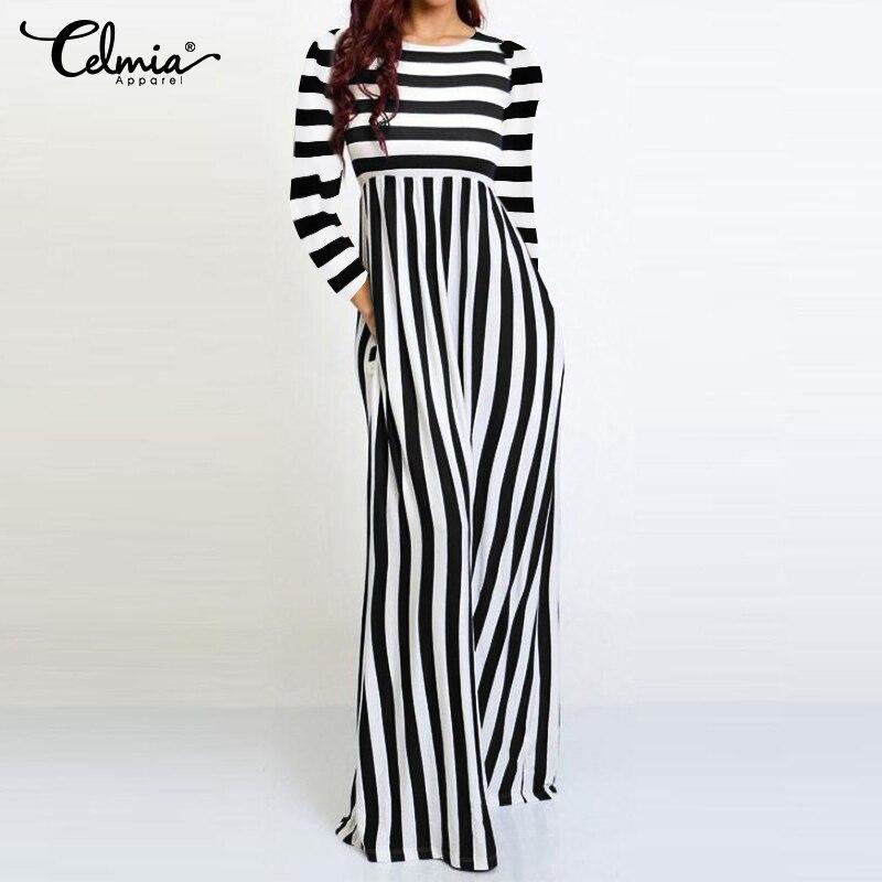 Fashion Striped   Rompers   2020 Celmia Women Jumpsuit Long Sleeve Wide Leg Pants Elegant Work Ladies Overalls Casual Pantalon S-5XL