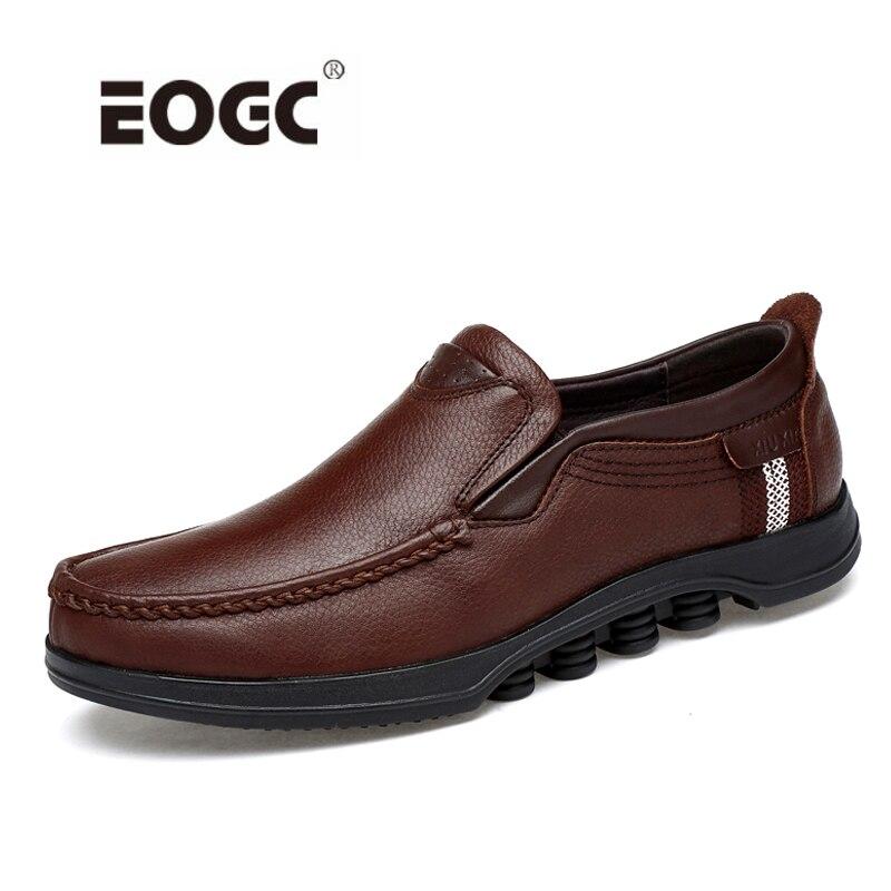 Cuir véritable, homme Chaussures Automne chaussures de Marche Hommes Appartements Mocassins Slip on chaussures casual respirantes chaussures de conduite Hommes livraison directe