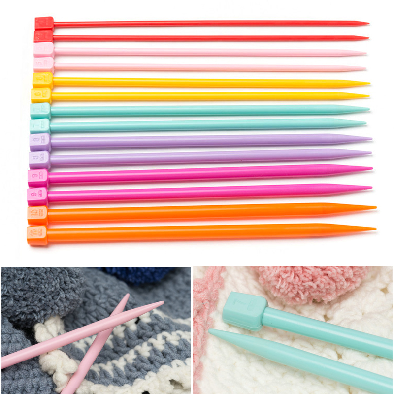 4-10mm Knitting Needles DIY Crochet Hooks Soft Plastic Grip Handle Weave Craft Sewing Tools Accessories Needles For Knitting