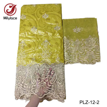 Latest arrival bazin riche getzner embroidery fabric 2 in1 5 yards+2 yards french lace for garment/dress PLZ-12