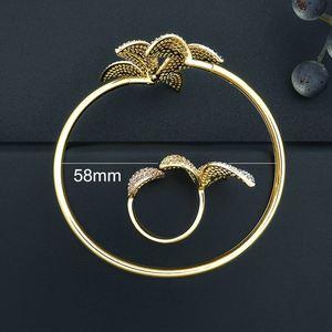 Image 3 - ModemAngel 럭셔리 플라워 리프 AAA 큐빅 지르코니아 여성 약혼 파티 선물 팔찌 Bangle And Ring Set