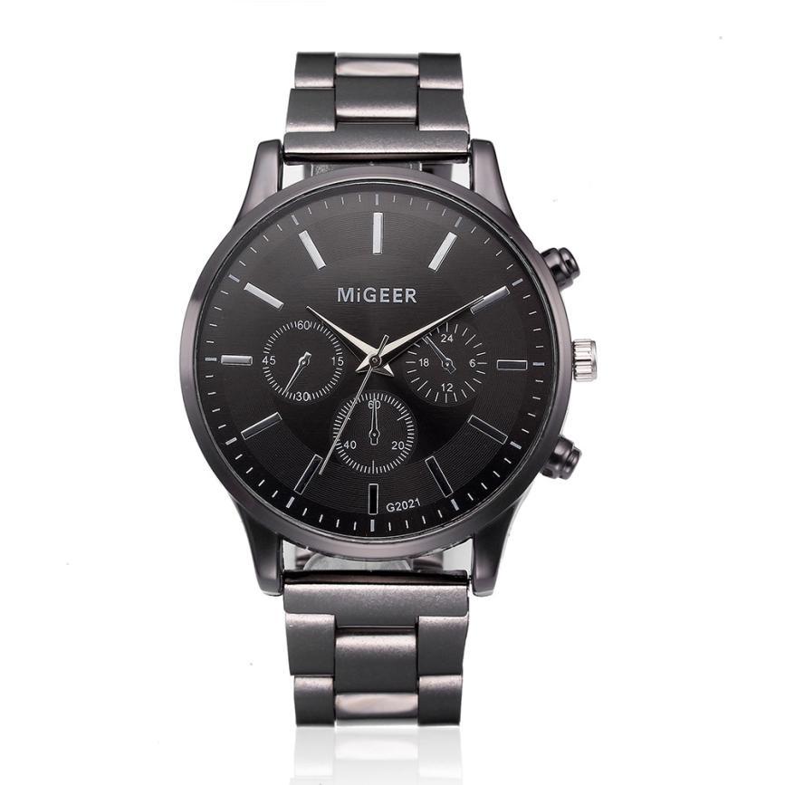 Fashion Men Crystal Stainless Steel Analog Quartz Wrist Watch Bracelet mens watches top brand luxury automatic mechanical clock 1