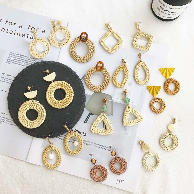 2018 Handgemachte Holz Stroh Weben Rattan Lange Pendientes Ohrringe Für Frauen Weibliche Natur Vine Braid Geometrische Ohrringe