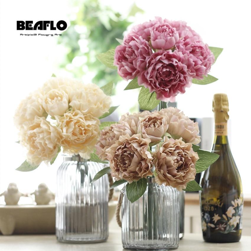 1 Branch/Bouquet Artificial Flowers Peony Vivid flores artificiales Fake Silk Rose Bridal Wedding Home Office Garden Decoration