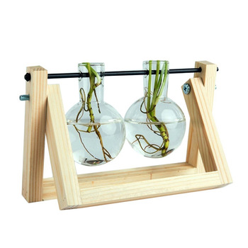 Desktop Glass Planter Bulb Vase with Retro Solid Wooden Stand and Metal Swivel Holder for Hydroponics Plants Home Office Decor