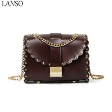 2017 New Arrival Fashion Lace Mini Flap Handbag Shoulder Lock Chain Rivet Chain Shoulder Bag PU Leather Crossbody Bags For Girls