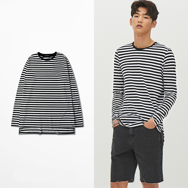 8687fecb New Men T shirt 2018 Fashion LONG-sleeved black white Striped T-SHIRT Man