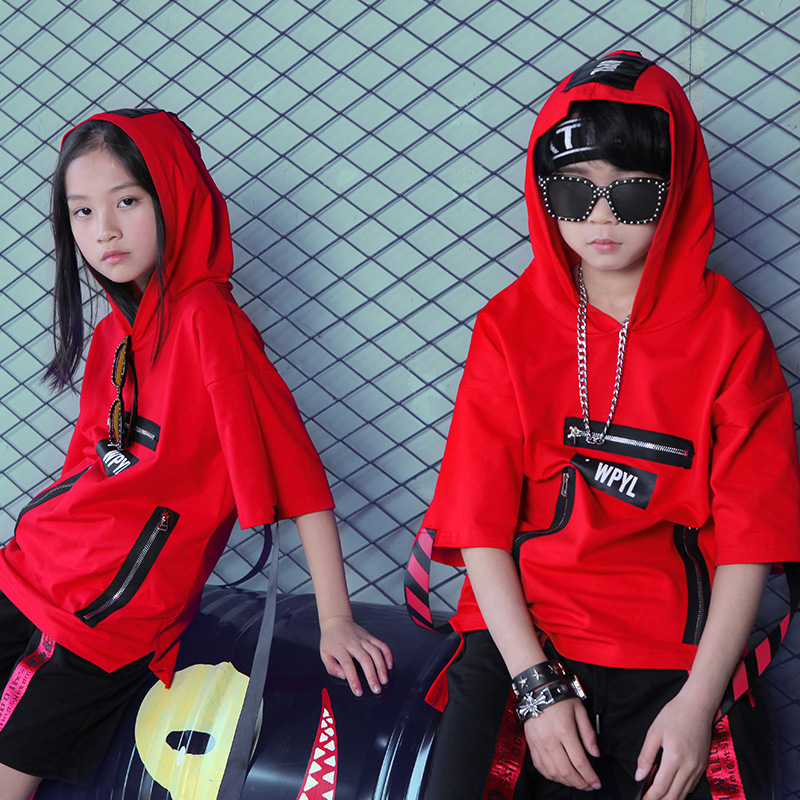 Children's Hip hop Jacket Cap Sleeve Girls Jazz Dance T shirts Costumes with Ribbon Kids Boys Jersey Dancing Uniforms No Pants