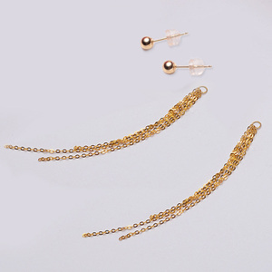 Image 4 - Classic Minimalist Ball 18K Gold bead Tassel Stud Earring for women girls Diameter 3 4 5mm optional real Au 750 stud earring