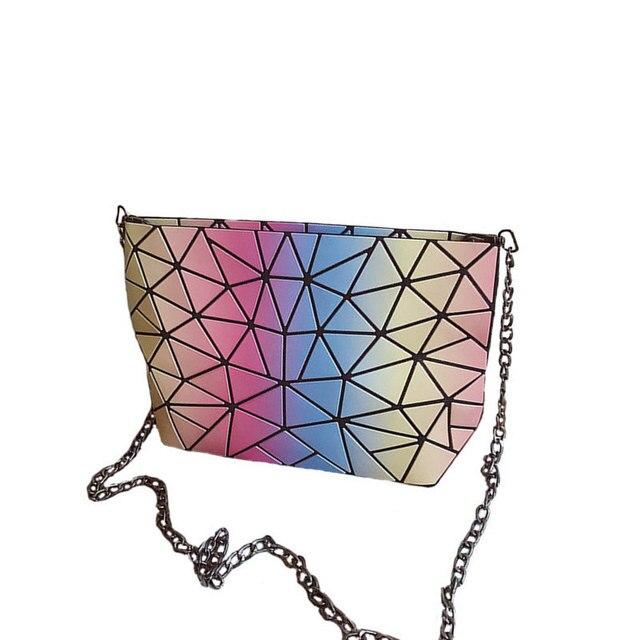 e671a2a778 Hologram Geometry Clutch Laser Shoulder Bags Foldable Plaid Gradient  Rainbow Women Bao Bao Messenger Handbag Damska Kabelky tas