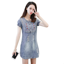 Summer Denim Dress Hot Reduction Of Age Fashion Elegant Casual Women Solid Short Sleeve Bodycon Mini