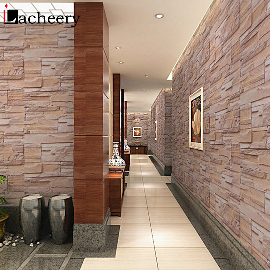 5M/10M Home Decor Removable Vinyl Brick Stone Self Adhesive Wallpapers Living Room Bathroom Waterproof Wall Stickers House Decal