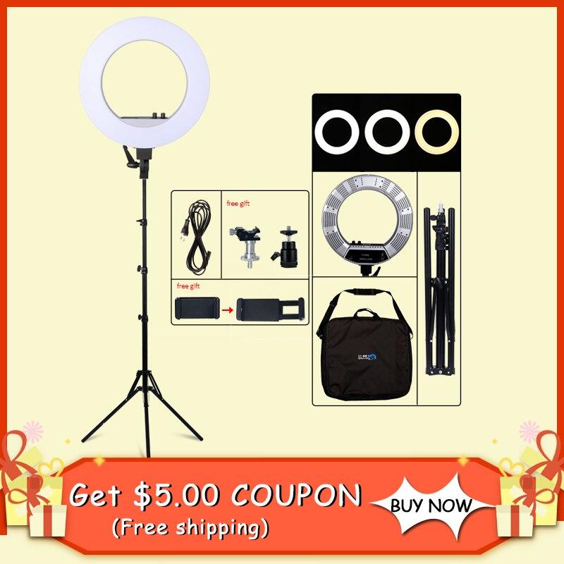 18 pouces LED Photographie La Lumière 50 w 480 pcs LED Light Ring Bi-couleur 3200 k-5600 k photo Studio Vidéo Maquillage Lampe Avec Trépied Stand