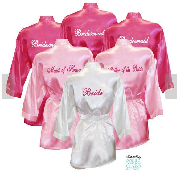 65679ff374f Personalized text Wedding silk satin Bridal Shower pajamas nightgown Robes  Hens Night Bachelorette Party favors decorations