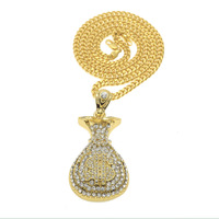 e06ceb86db83 Golden Money Purse Wallet Chains Bling Rhinestone Jewelry Pendants Men  Women Hip Hop Charm Dollar Sign