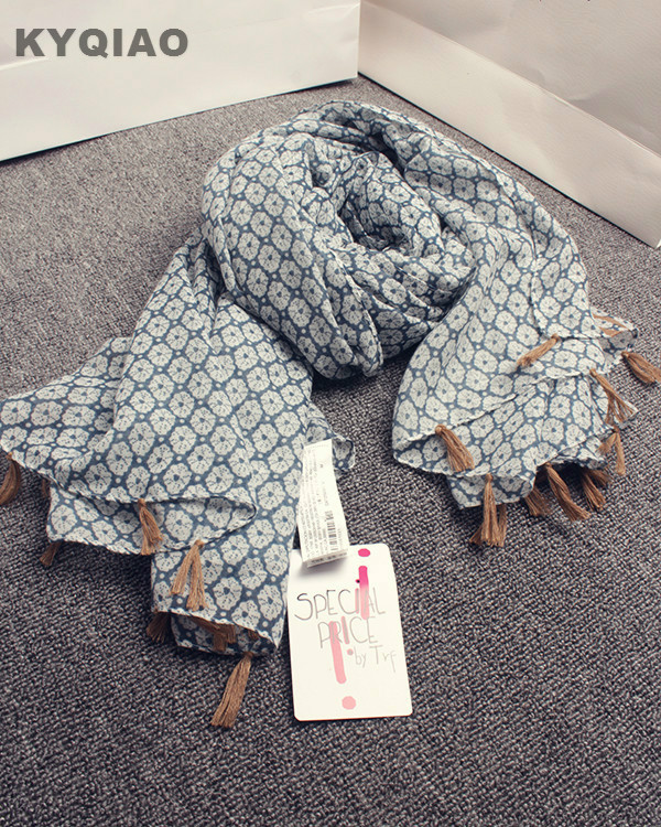KYQIAO Brand scarf 2017 women autumn winter elegant long geometrical pattern scarf Japanese style designer floral muffler cape