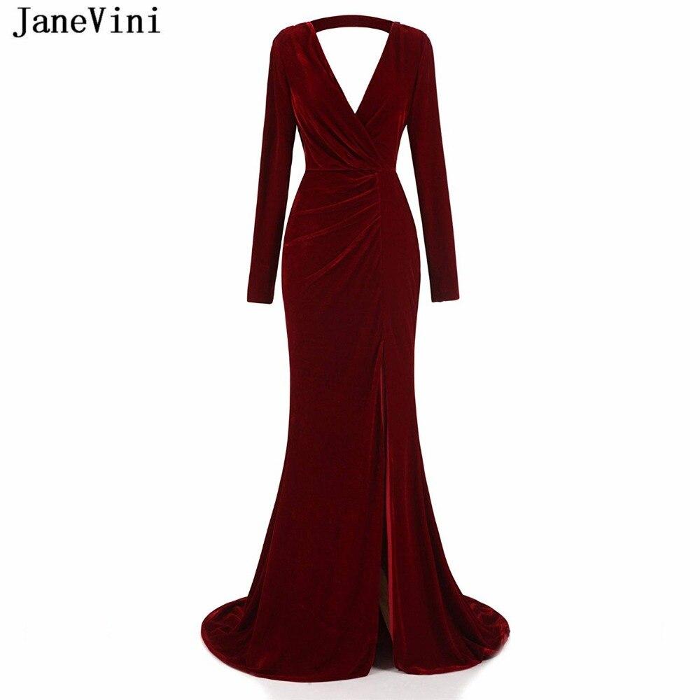 JaneVini Sexy Burgundy Long   Bridesmaid     Dresses   Deep V Neck Long Sleeve Backless Velvet African Mermaid Prom Gowns Robe Bourgogne