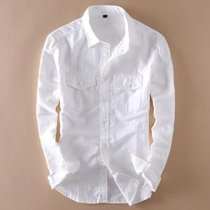 Image 1 - Brand 2020 Mens Long Sleeve Casual Linen Shirt Mens Social Turn down Collar Slim 2 Pockets Solid White Designer Dress Shirts XXL