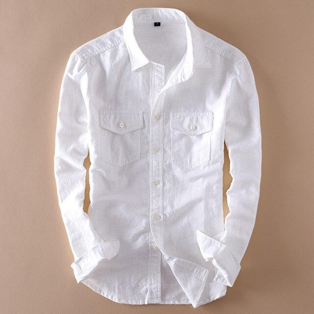 Brand 2020 Mens Long Sleeve Casual Linen Shirt Mens Social Turn down Collar Slim 2 Pockets Solid White Designer Dress Shirts XXL