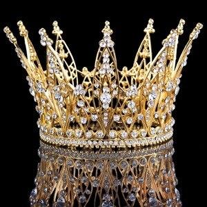 Nowy elegancki wygląd jasny kryształ królowa tiary i korony korowód suknia ślubna wesele Diadema akcesoria do włosów dla kobiet 2020