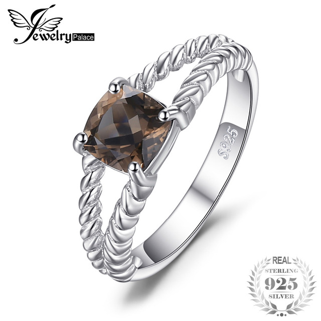JewelryPalace Delicate 0.9ct Genuine Smoky Quartz Solitaire Rope Ring 925 Sterli