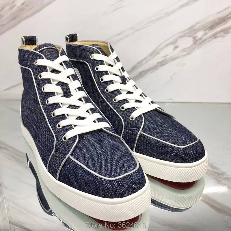 9d85476d8366 clandgz high heel shoes Lace up blue denim without Rivets Fashion Party Red  bottom Shoes Sneakers leather casual shoes 2018 Male-in Men s Casual Shoes  from ...