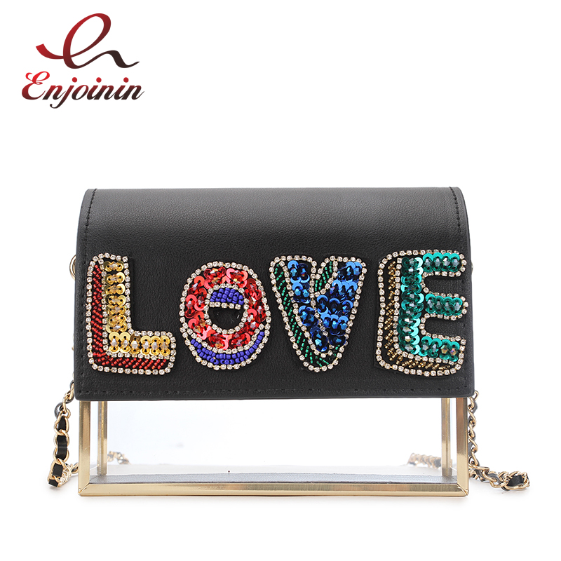 New Style Color Sequins Letter LOVE Design Transparent Acrylic Ladies Chain Purse Party Handbag Crossbody Mini Messenger Bag New Style Color Sequins Letter LOVE Design Transparent Acrylic Ladies Chain Purse Party Handbag Crossbody Mini Messenger Bag