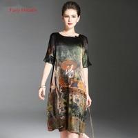Fairy Dreams Women Loose Dresses Print Summer Style Silk Dress 2017 New Style Hot Sale Fashion