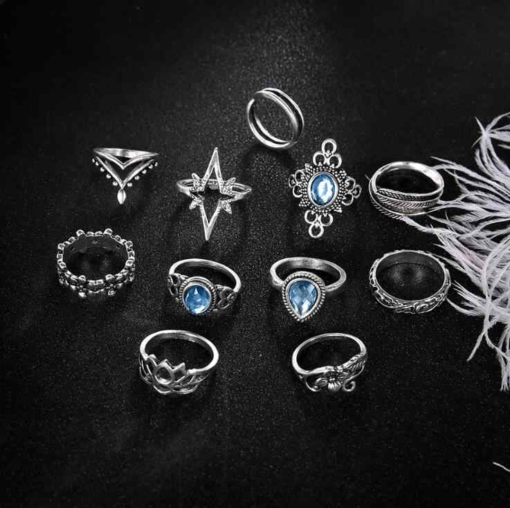Caliente 11 Uds Vintage azul conjunto de anillos de cristal para mujeres plata Lotus pluma Boho anillos MIDI de nudillos declaración moda joyería regalo