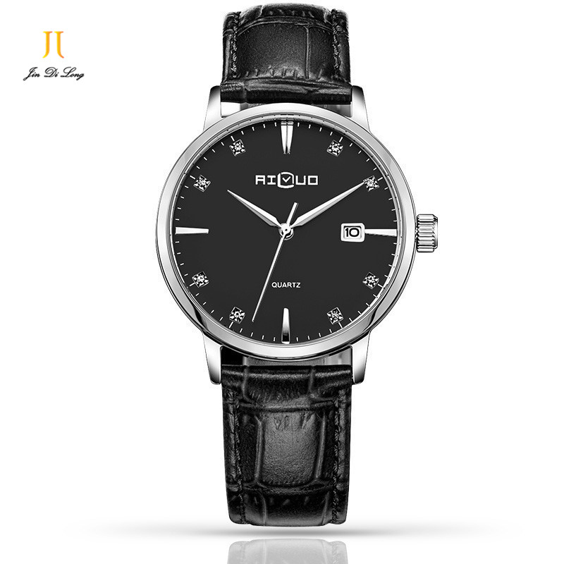 ФОТО Ailuo Fashion Ultra Thin Classic Casual Business Watch Men Quartz Diamond Wristwatch Leather Strap Calendar Waterproof 50M
