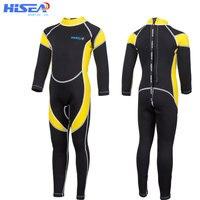 Hisea Neoprene Kids Wetsuit Boys Girls One Piece Diving Suit Long Sleeves UV protection Scuba Suit Snorkeling Surfing Swimsuit
