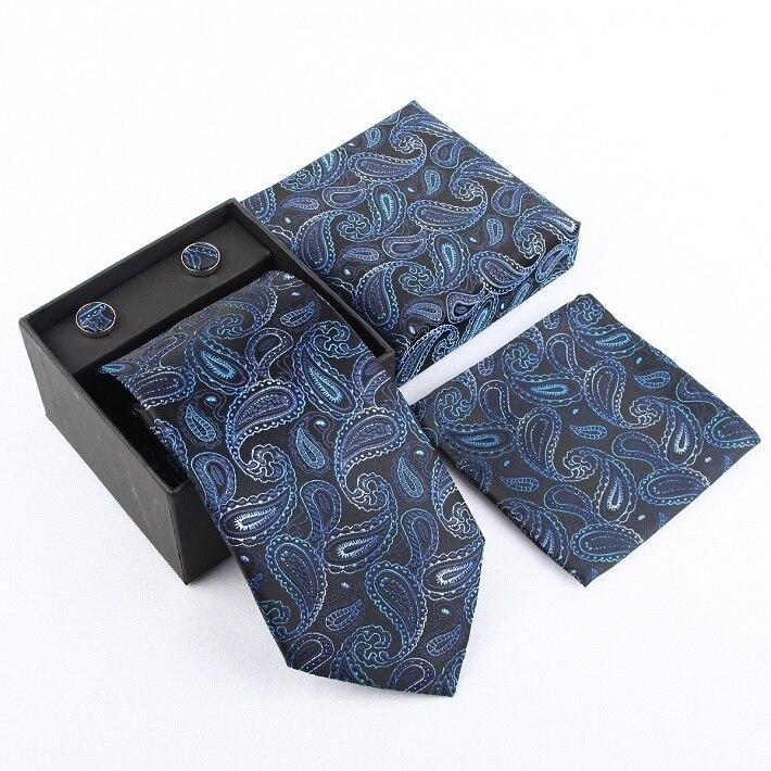 Набор галстуков галстуки Запонки Галстуки для мужчин квадранные Карманные Платки свадебный подарок - Цвет: 28