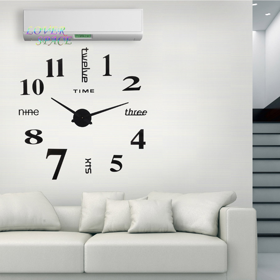 Europe Simple Ideas NEW Quartz Huge Wall Clock Modern Home Decoration DIY Acrylic Mirror Sticker For Living Room 100X100CM In Clocks From