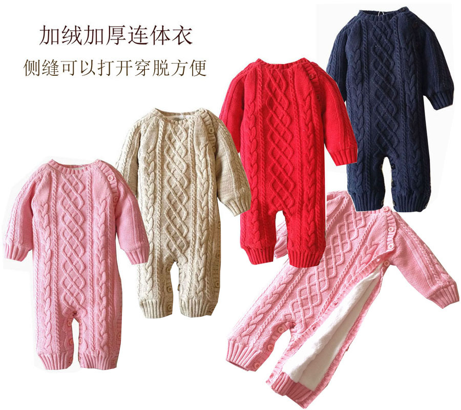 2017 Newborn  Clothes Thick Fleece Cotton Sweater Boy Girl Romper baby Long Sleeve Jumpsuits Girl Boys Outwear Infant Costume baby rompers infant thick cotton jumpsuit newborn solid long sleeve overalls ropa bebes toddler sweater baby girl boy clothes