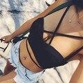 2016 nova fashon mulheres verão Celebridade Preto Branco Rayon Top Sling Sexy Bandagem Top Top Festa