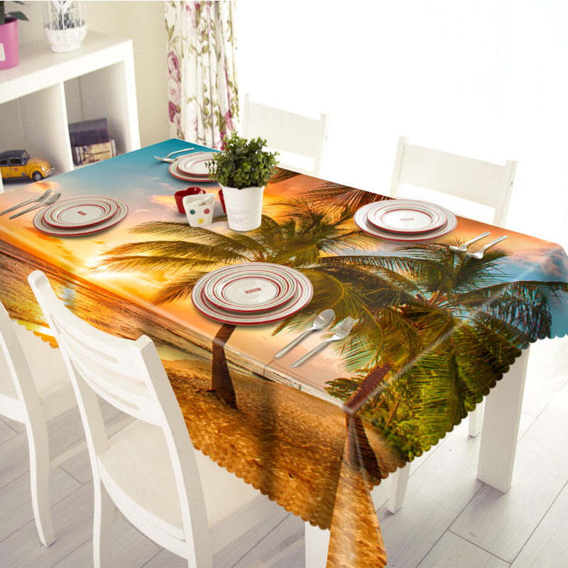 Home Textile Restaurant 3d Tablecloth Beach Coconut Tree Scenery Pattern Polyester cloth Dustproof Rectangular Round Table cloth in Tablecloths from Home Garden