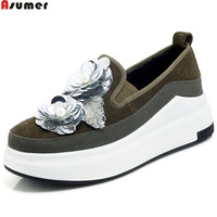 ASUMER Black Army Green Fashion Casual Pumps Shoes Round Toe Bling Platform Wedges Shoes For Woman