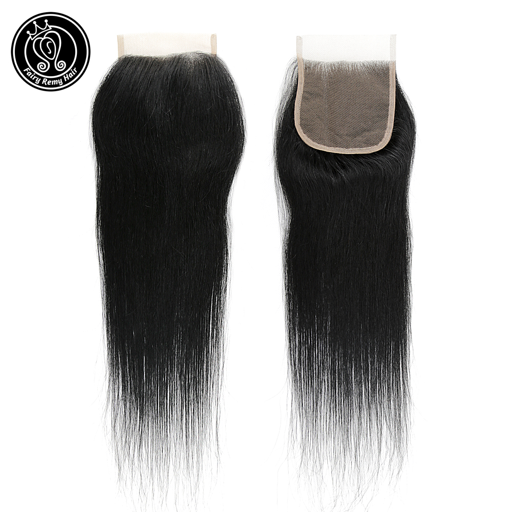 Fairy Remy Hair Straight 18 Inch 4*4 Lace Closure With Baby Hair 100% Brazilian Human Hair Darkest Color Remy Hair Weaving