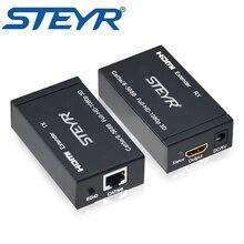 STEYR 196ft HDMI Extender 1080P HDMI Ethernet Network Extender 60m Over Single RJ45 Splitter Extender with Transmitter+Receiver