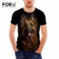 FORUDESIGNS German Shepherd Dog Print T Shirts Men Summer O Neck Top Tee Shirt Black Casual