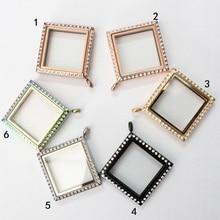 Stainless steel crystal square shape magnet floating locket 6 colors living pendant